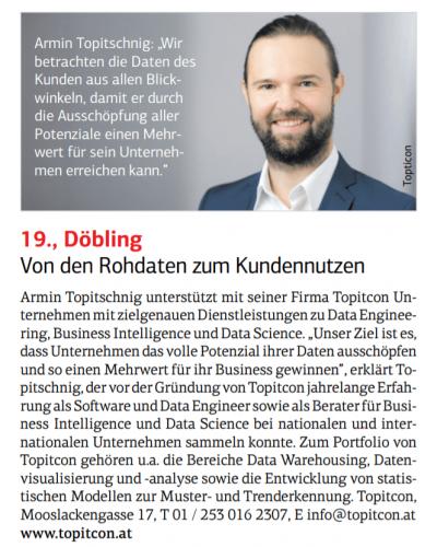 Artikel in der Wiener Wirtschaft über TOPITCON vom 8. November 2018